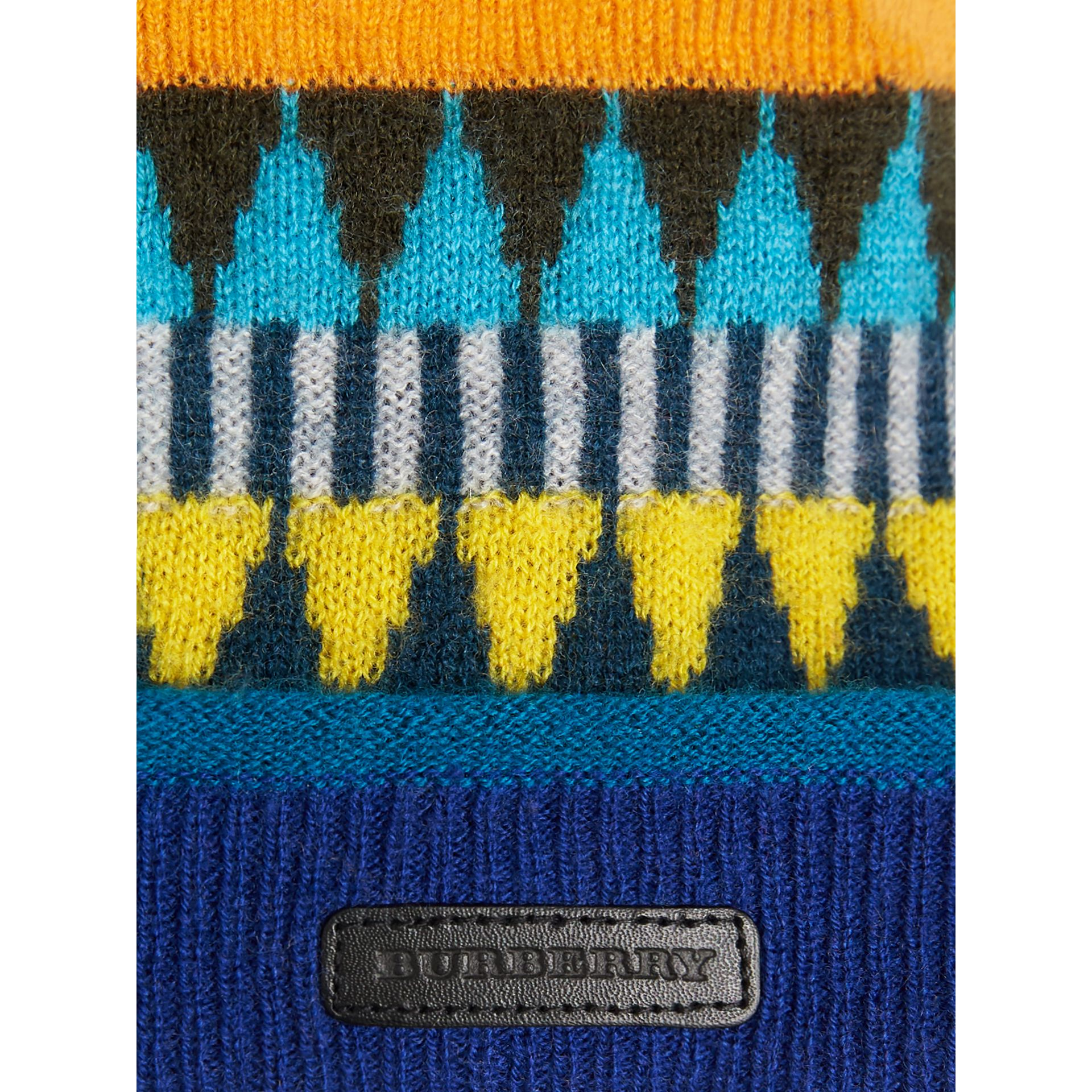 Fair Isle Wool Cashmere Pom-pom Beanie in Bright Yellow | Burberry Australia - gallery image 1