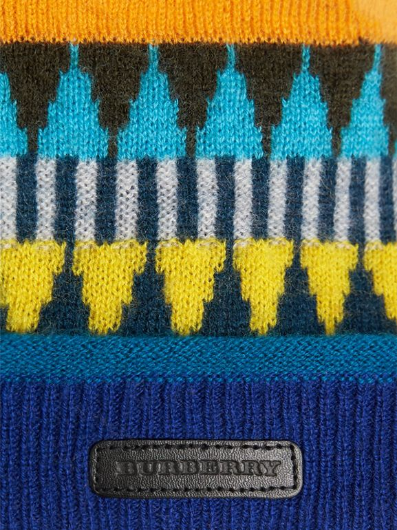 Gorro de lã e cashmere com pompom e estampa Fair Isle (Amarelo Intenso) | Burberry - cell image 1