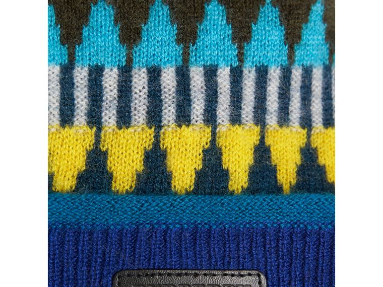 Fair Isle Wool Cashmere Pom-pom Beanie in Bright Yellow | Burberry Australia - cell image 1