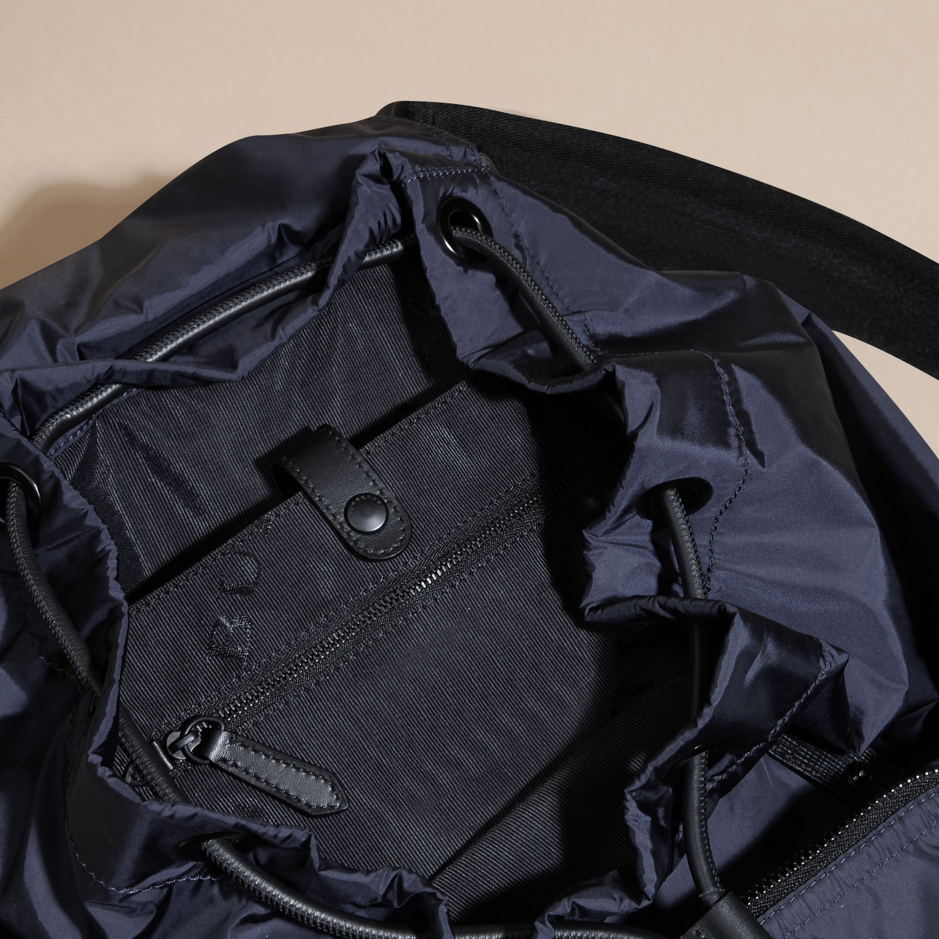 The Large Rucksack in Technical Nylon and Leather Ink Blue - gallery image 6