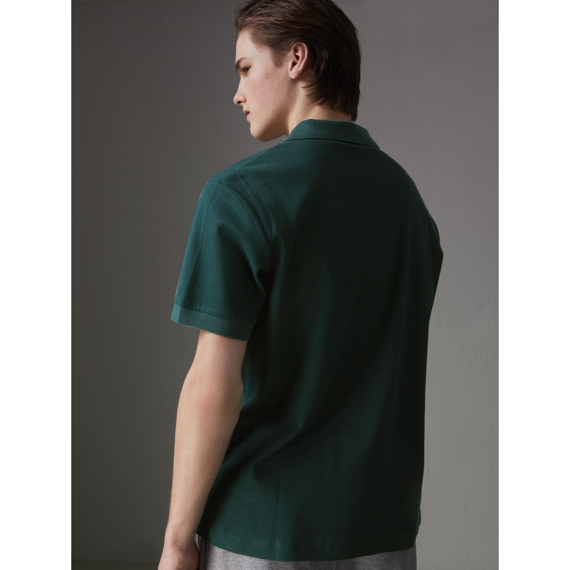 Triple Archive Logo Cotton Piqué Polo Shirt in Dark Forest Green - Men | Burberry Australia - gallery image 2