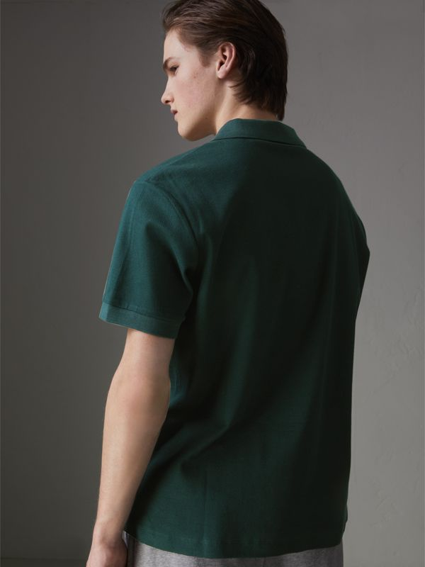 Triple Archive Logo Cotton Piqué Polo Shirt in Dark Forest Green - Men | Burberry Australia - cell image 2