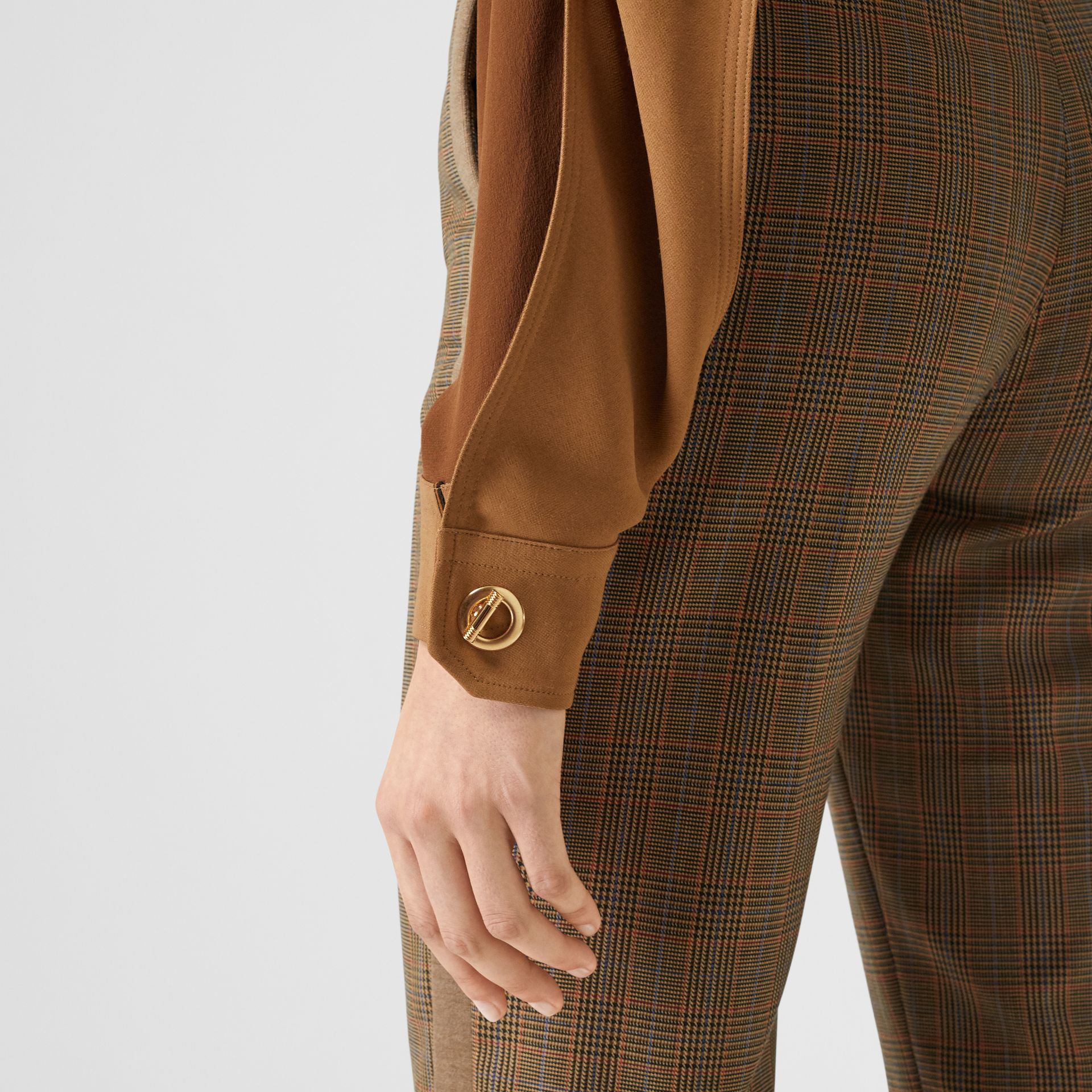 Cape Sleeve Two-tone Silk Shirt in Mahogany - Women | Burberry - gallery image 4