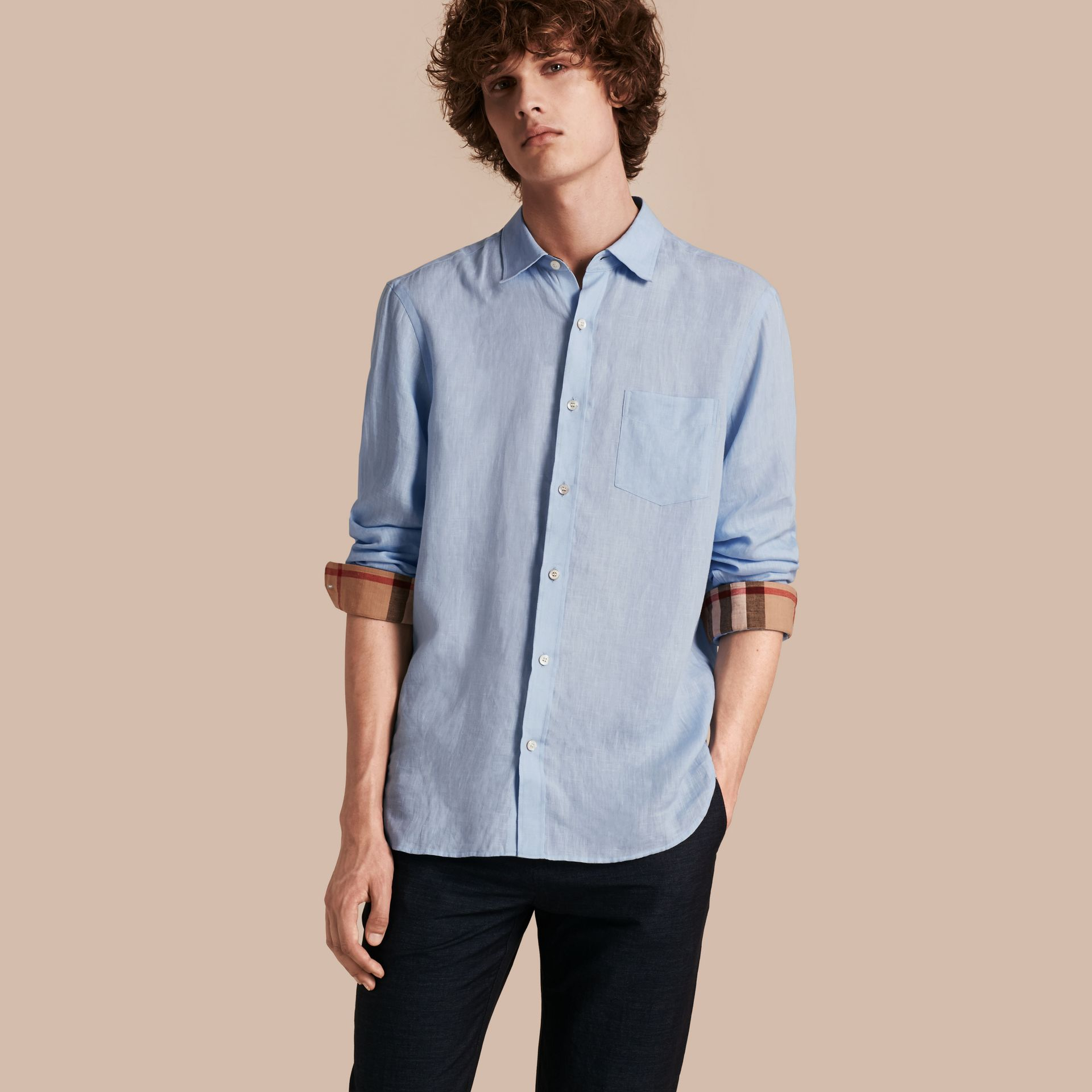 Check Detail Linen Shirt in Pale Blue - Men | Burberry - gallery image 1