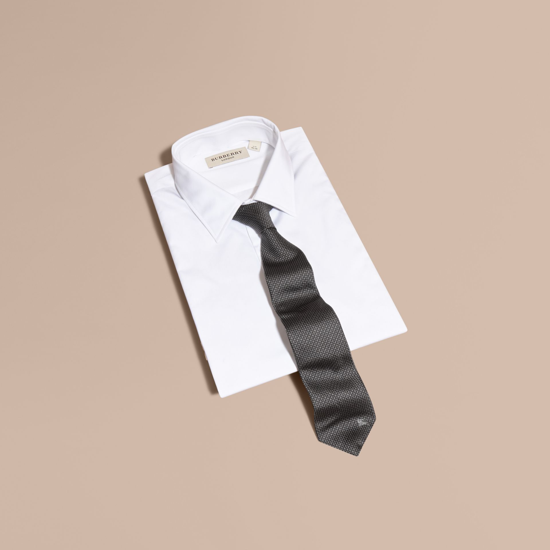 Modern Cut Patterned Silk Tie in Black - gallery image 4
