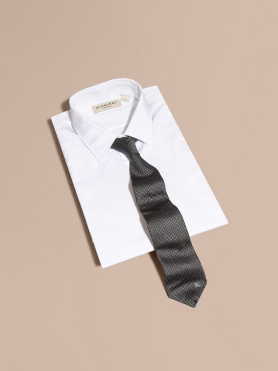 Modern Cut Patterned Silk Tie in Black - Men | Burberry - cell image 3