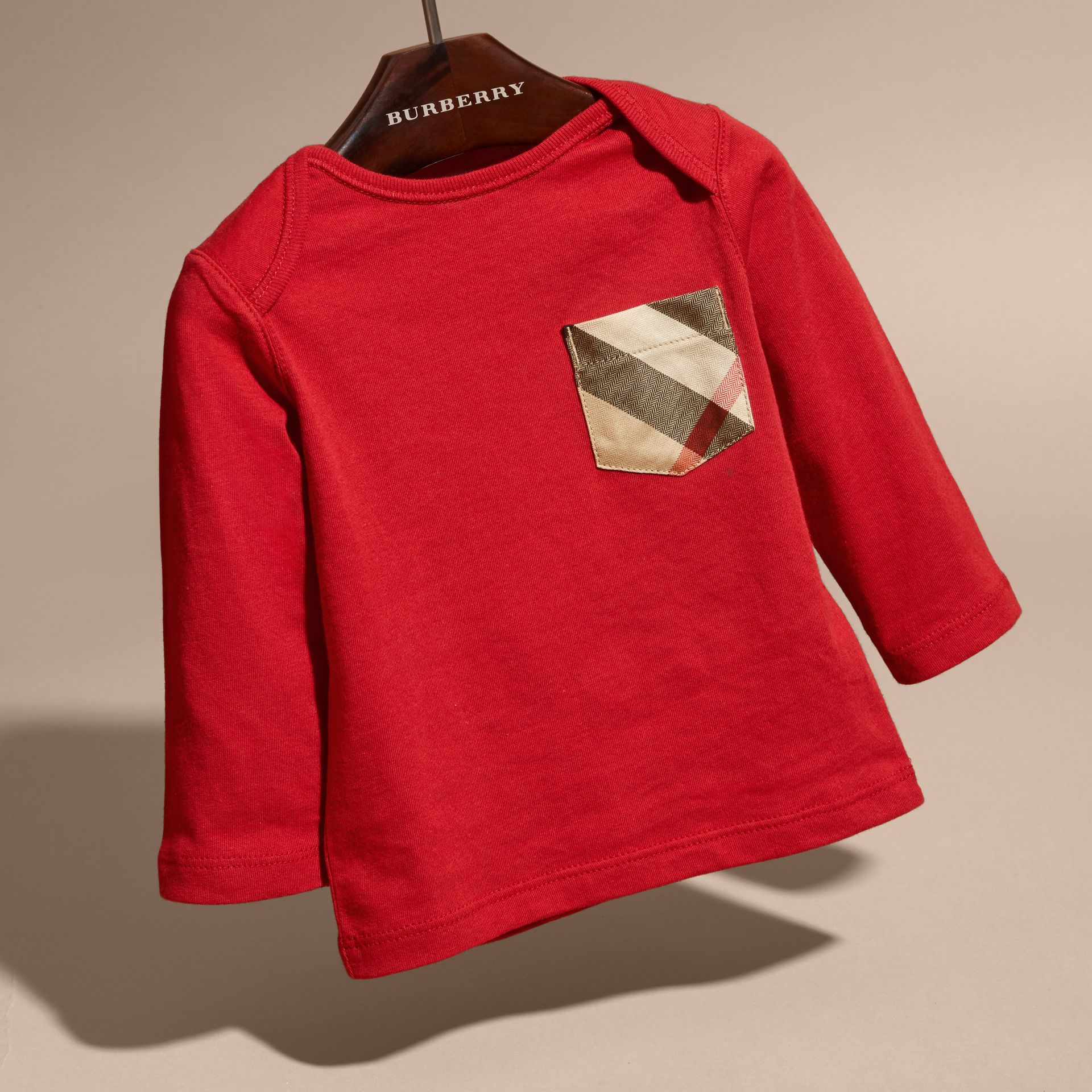 Long-sleeve Check Pocket Cotton T-shirt in Military Red - Boy | Burberry - gallery image 3