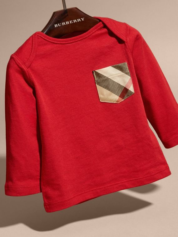 Long-sleeve Check Pocket Cotton T-shirt in Military Red - cell image 2