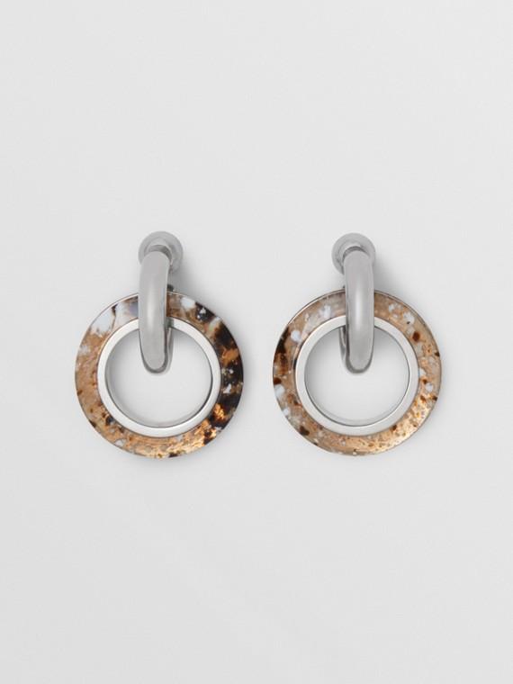 Marbled Resin Detail Double Grommet Earrings in Palladio/caramel