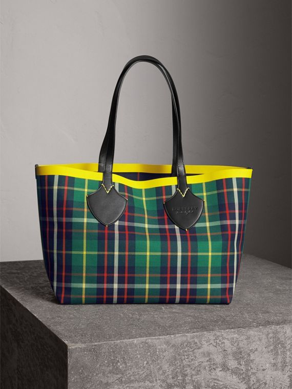 Borsa tote The Giant media double face in cotone con motivo tartan (Verde Foresta/navy Oltremare)