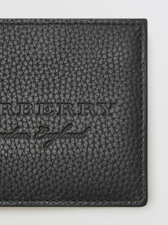 Embossed Leather Bifold Wallet in Black - Men | Burberry - cell image 1