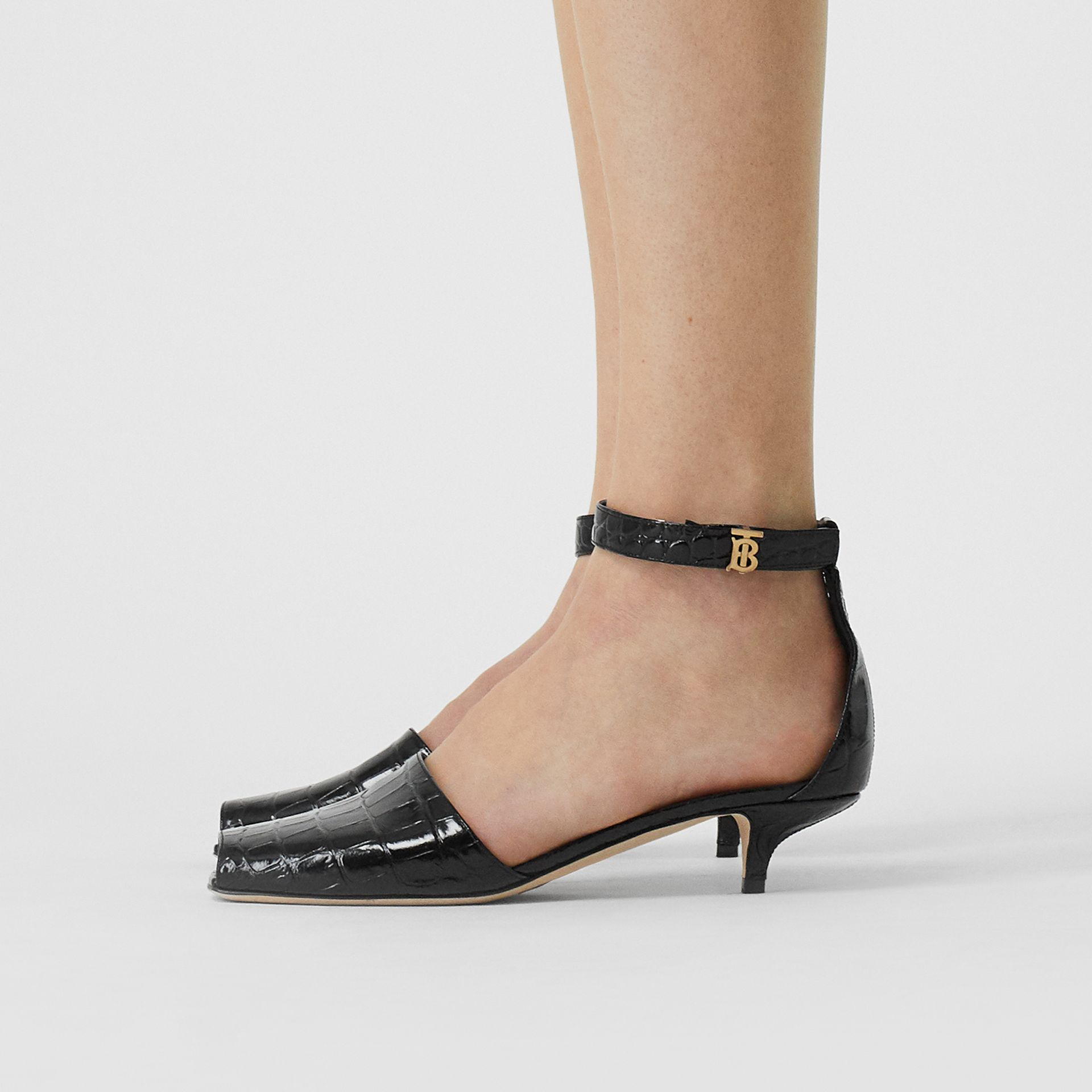 Monogram Motif Embossed Leather Sandals in Black - Women | Burberry - gallery image 1