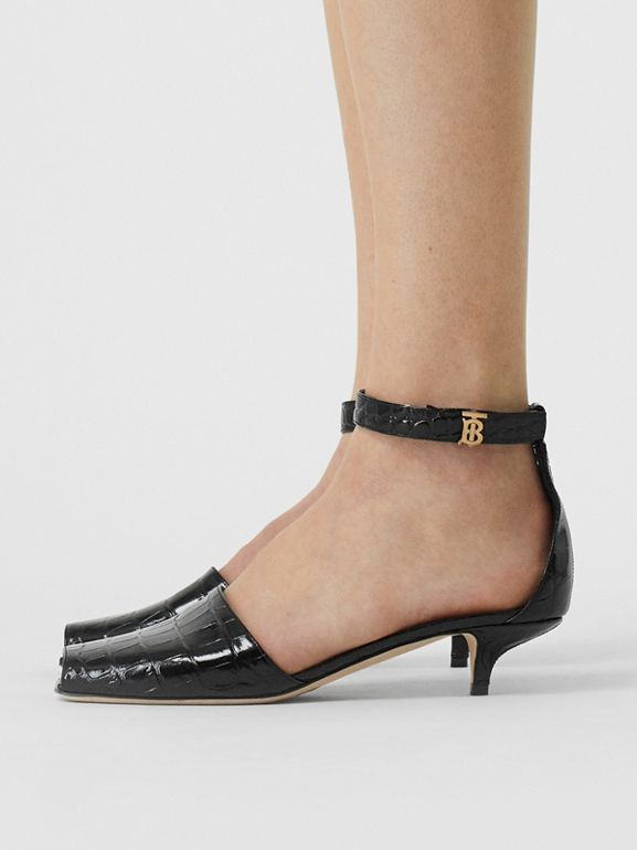 Monogram Motif Embossed Leather Sandals in Black - Women | Burberry - cell image 1