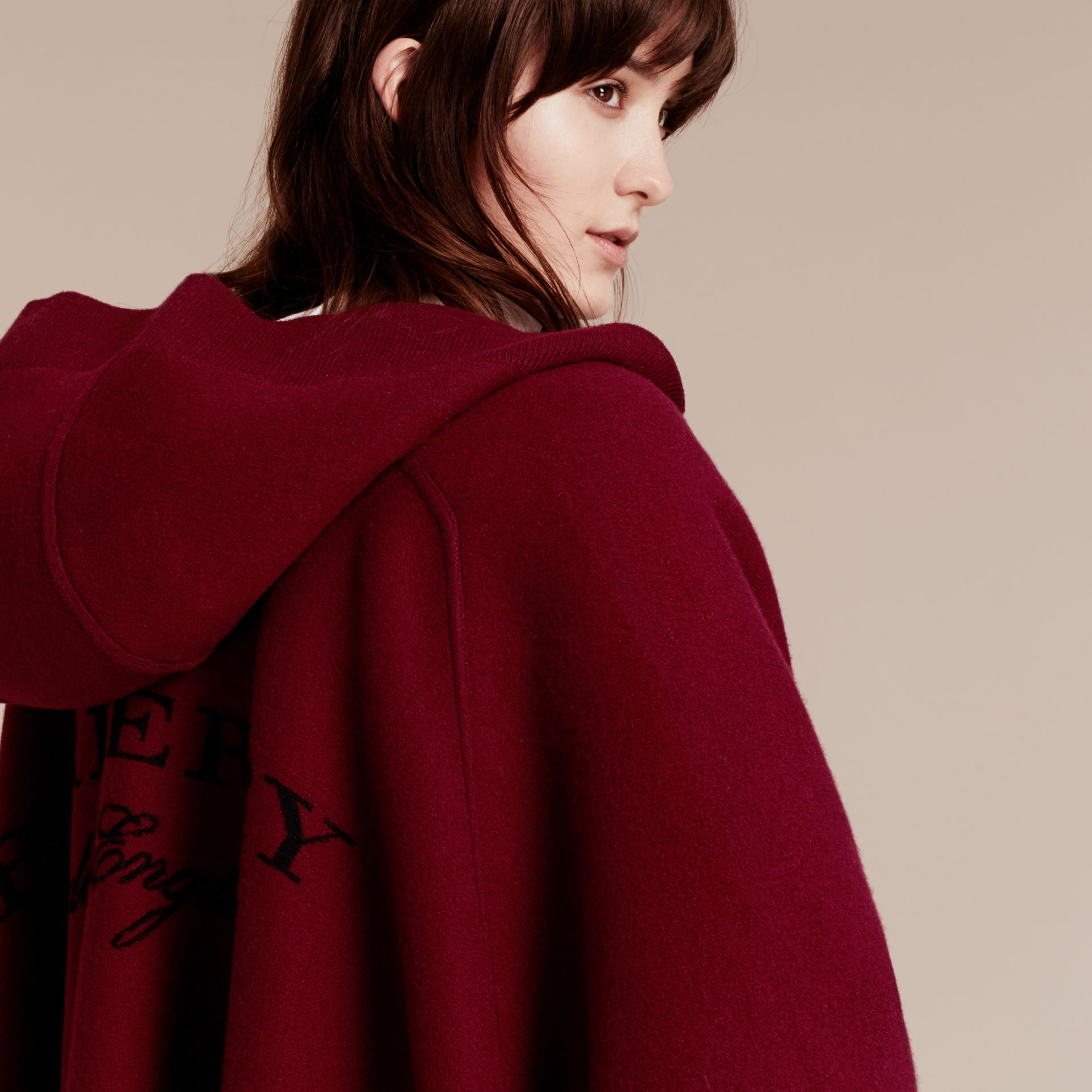 Deep red Wool Cashmere Blend Hooded Poncho Deep Red - gallery image 5