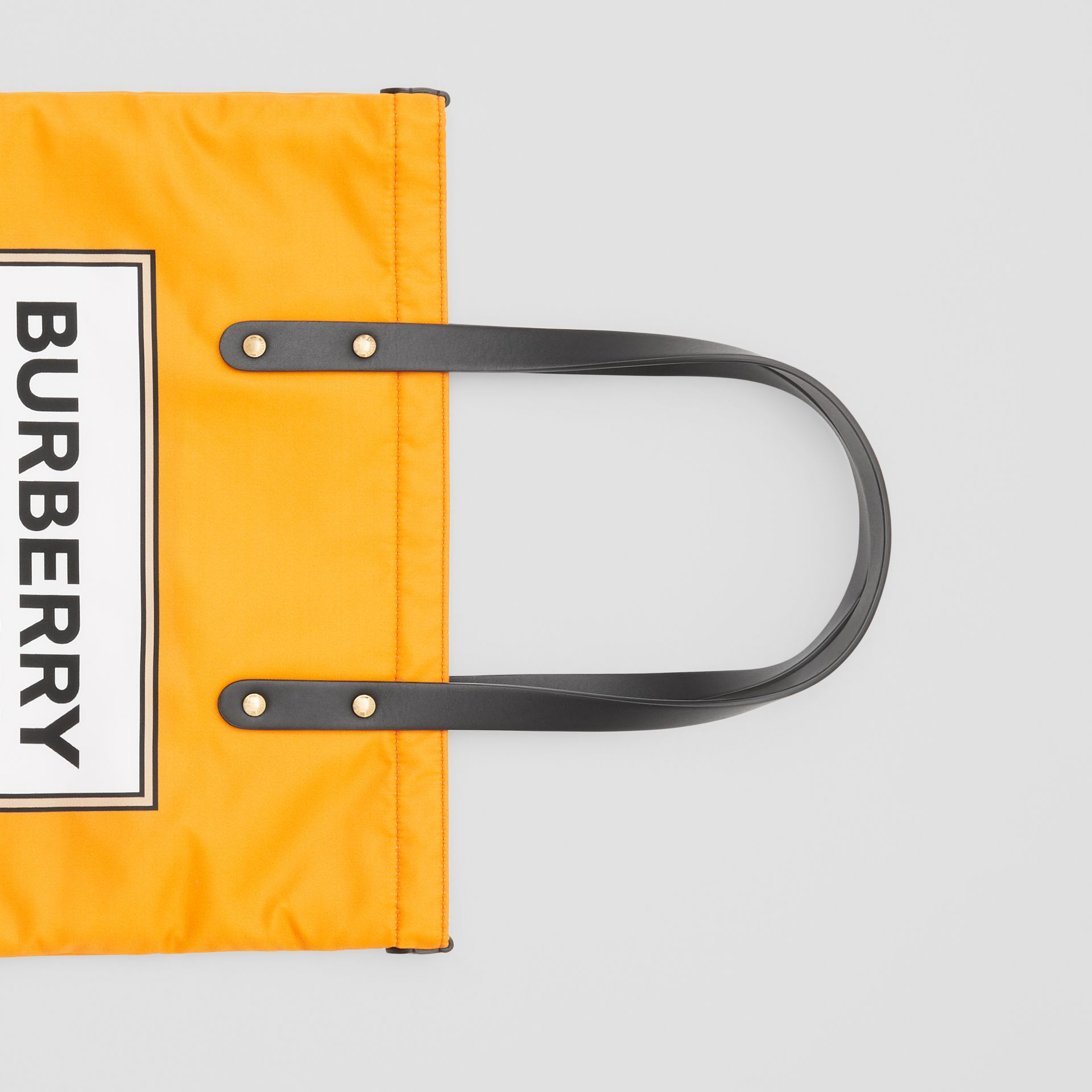 Logo Print Nylon Tote Bag in Orange | Burberry - gallery image 1