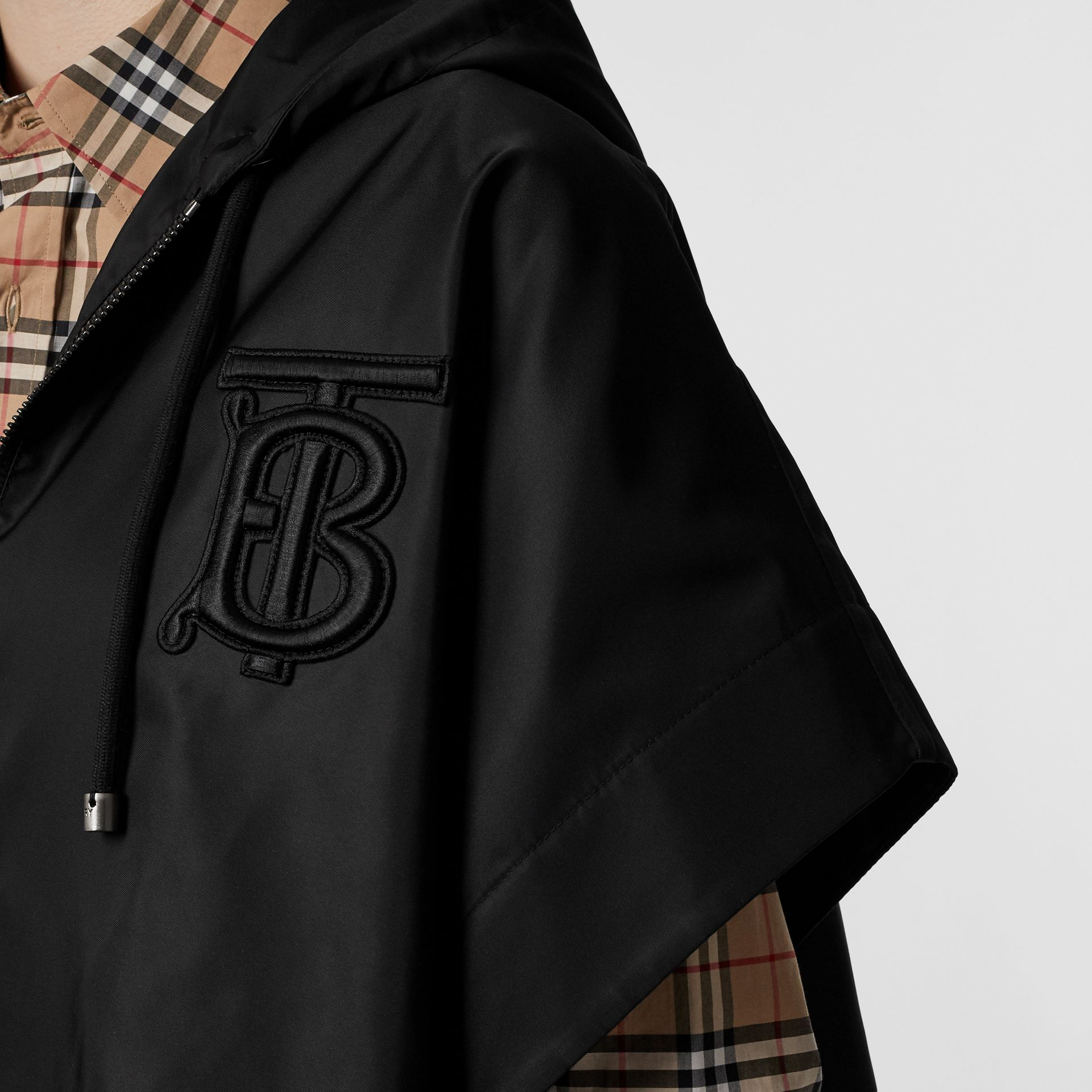 Monogram Motif Nylon Oversized Hooded Poncho in Black | Burberry - gallery image 2