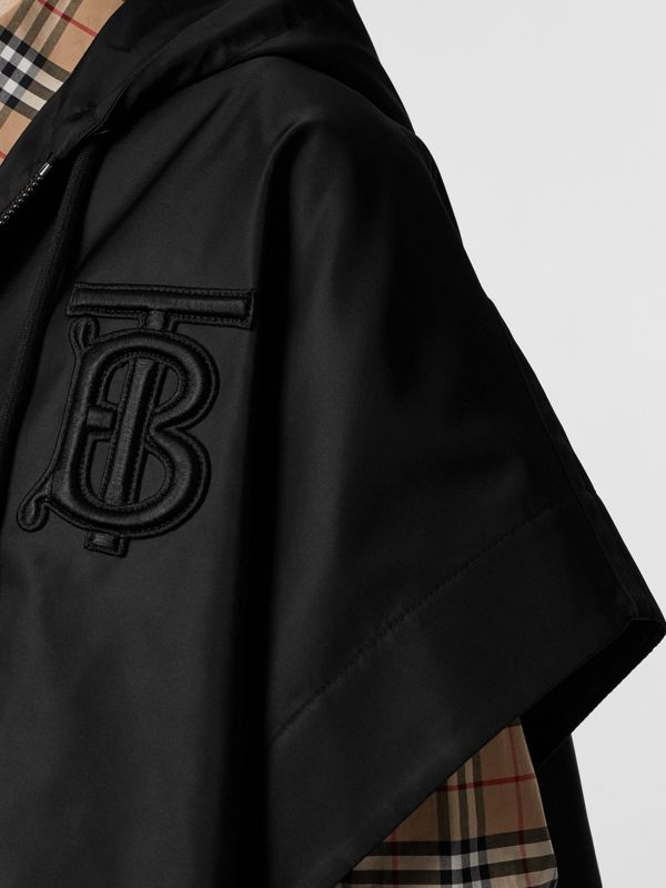Monogram Motif Nylon Oversized Hooded Poncho in Black | Burberry - cell image 2