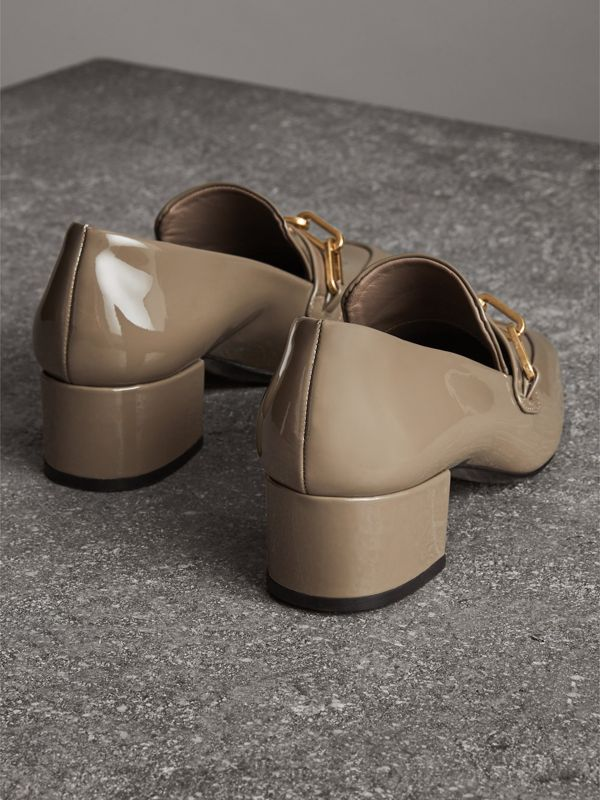 Link Detail Patent Leather Block-heel Loafers in Taupe Grey - Women | Burberry - cell image 3