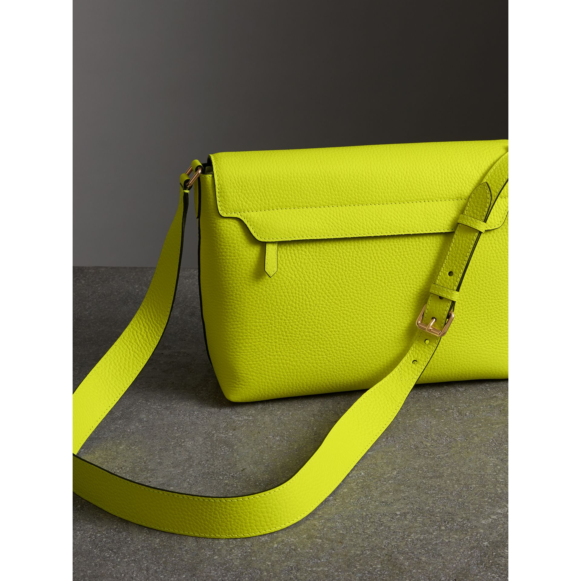 Medium Embossed Leather Messenger Bag in Neon Yellow | Burberry United Kingdom - gallery image 4