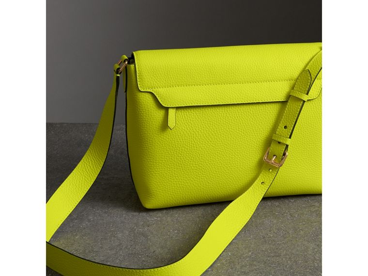 Medium Embossed Leather Messenger Bag in Neon Yellow | Burberry - cell image 4