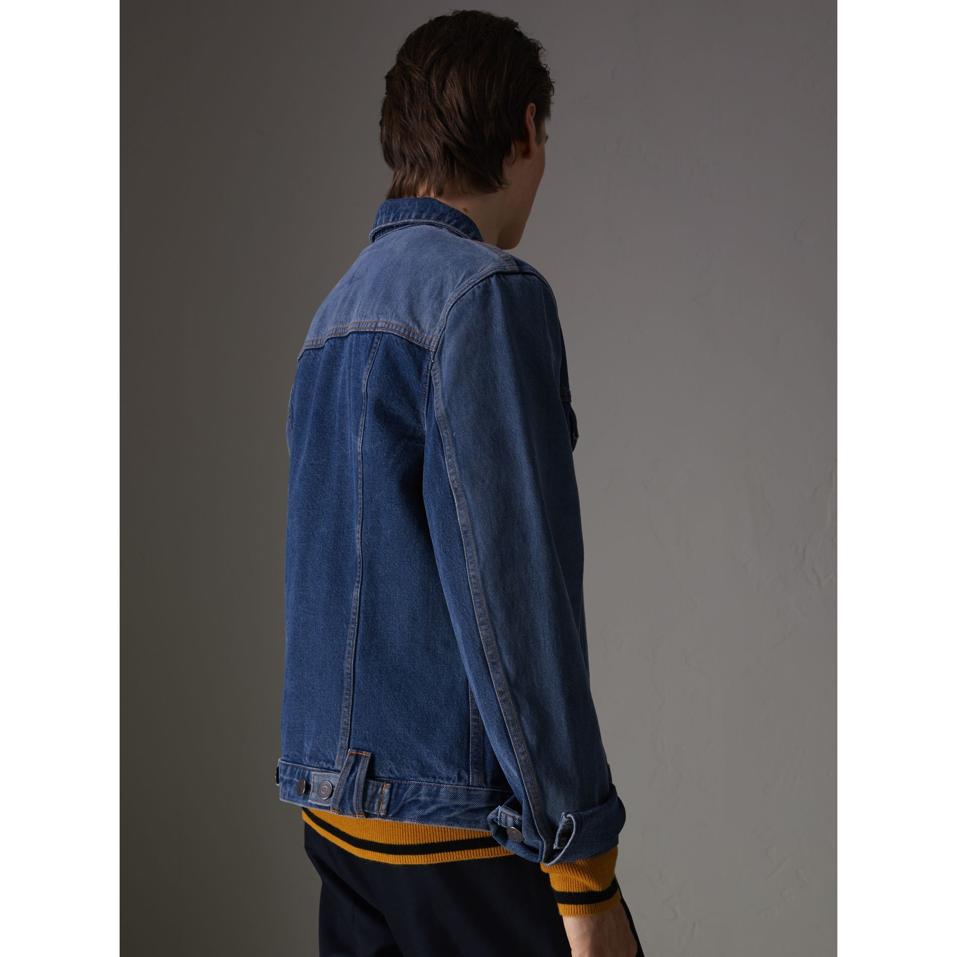 Two-tone Denim Jacket in Indigo - Men | Burberry Australia - gallery image 2