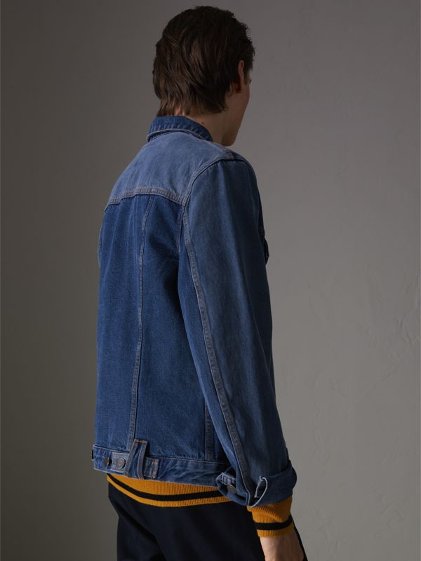 Two-tone Denim Jacket in Indigo - Men | Burberry United Kingdom - cell image 2