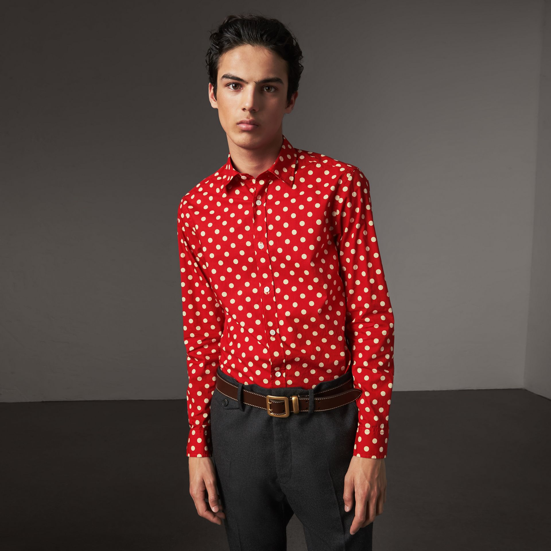 Polka-dot Cotton Flannel Shirt in Bright Orange Red - Men | Burberry - gallery image 1