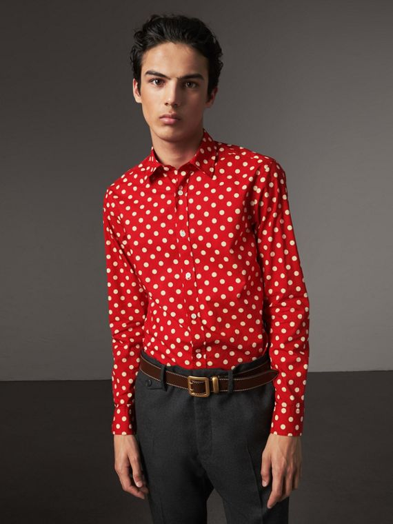 Polka-dot Cotton Flannel Shirt in Bright Orange Red