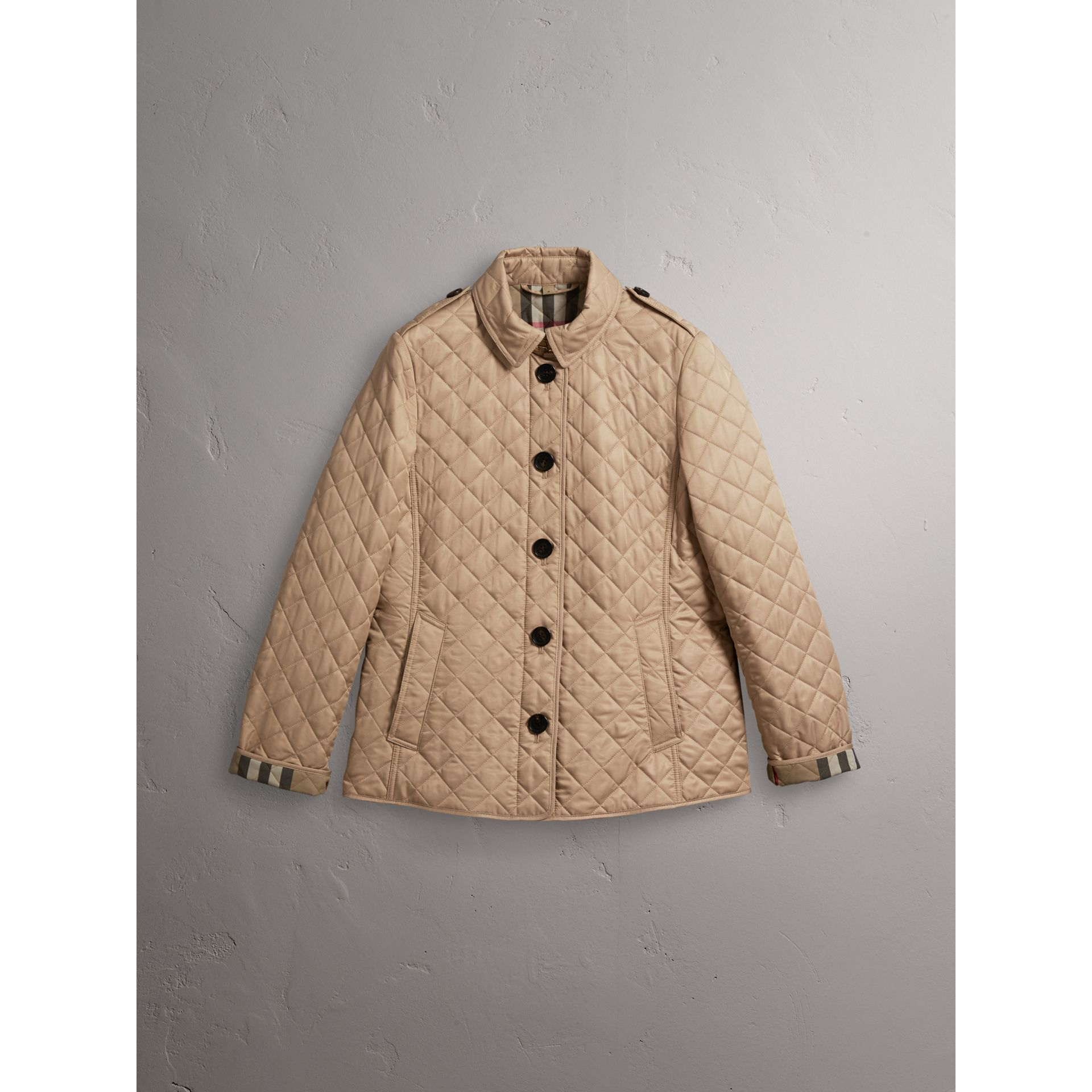 Diamond Quilted Jacket in Canvas - Women | Burberry Singapore - gallery image 4