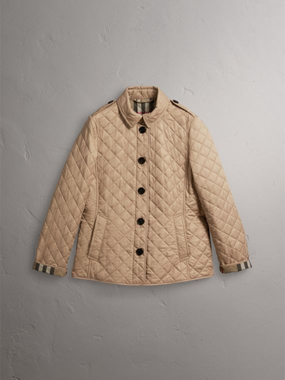 Diamond Quilted Jacket in Canvas - Women | Burberry Singapore - cell image 3