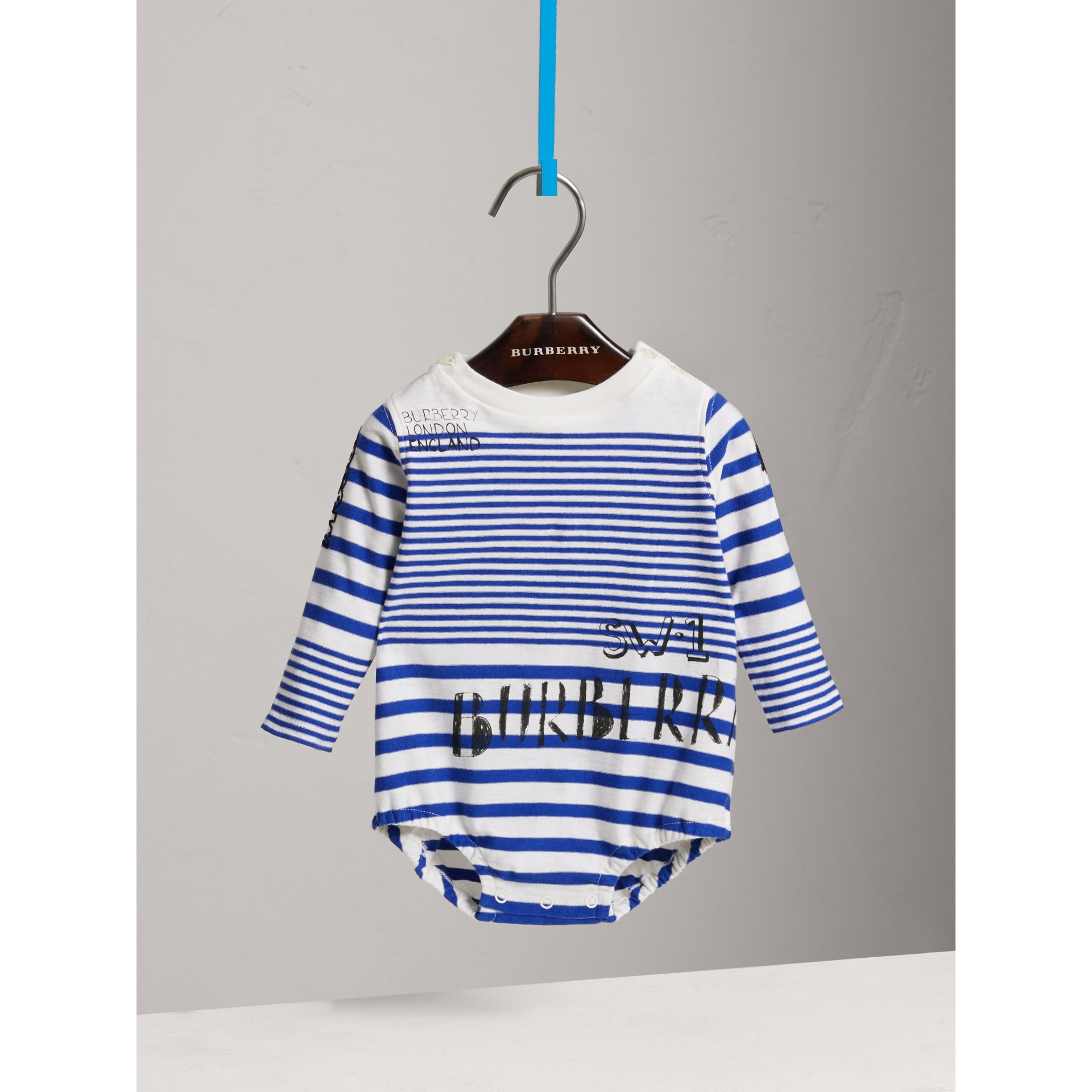 SW1 Print Striped Cotton Jersey Bodysuit in Bright Lapis/natural White - Children | Burberry Australia - gallery image 0