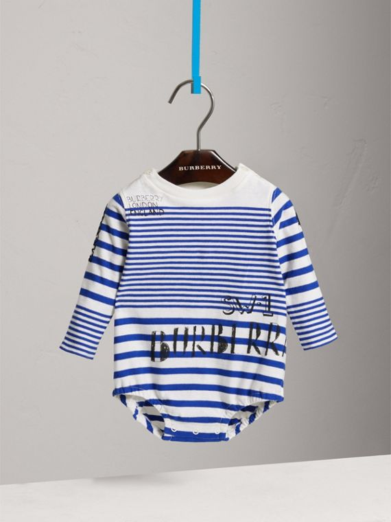 SW1 Print Striped Cotton Jersey Bodysuit in Bright Lapis/natural White
