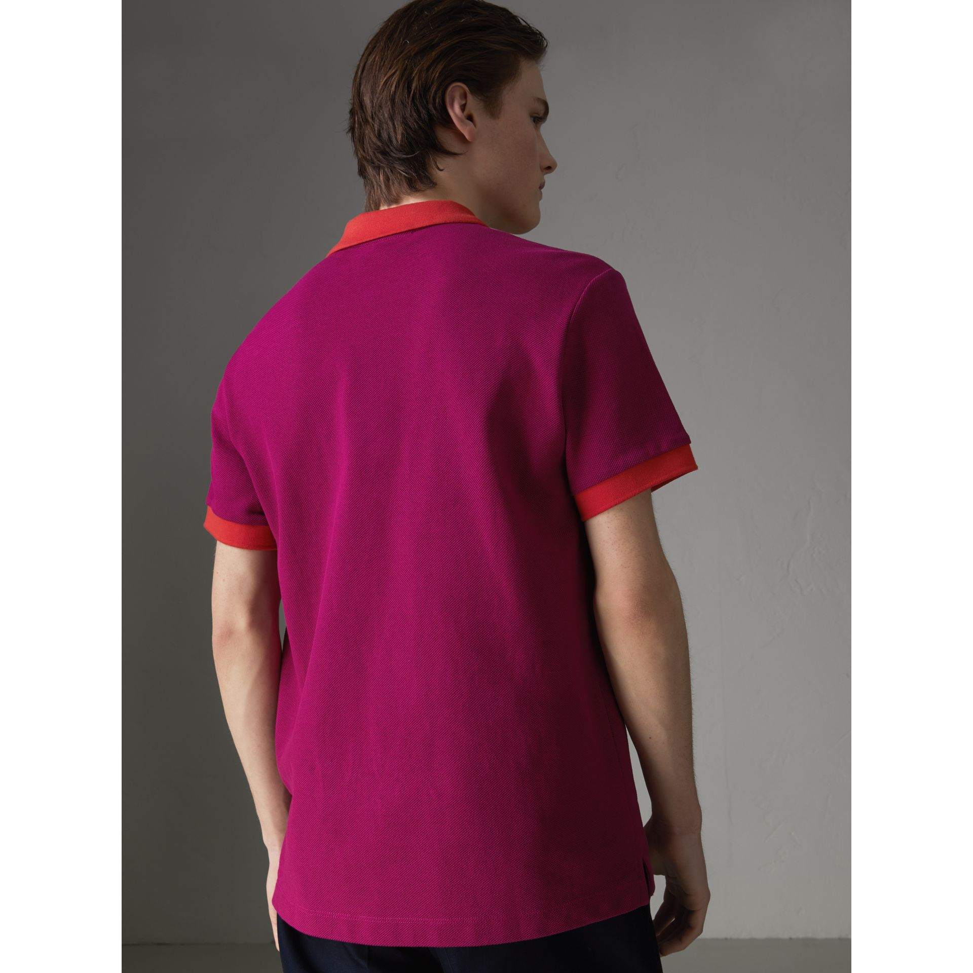 Contrast Collar Cotton Polo Shirt in Plum Pink - Men | Burberry Canada - gallery image 2
