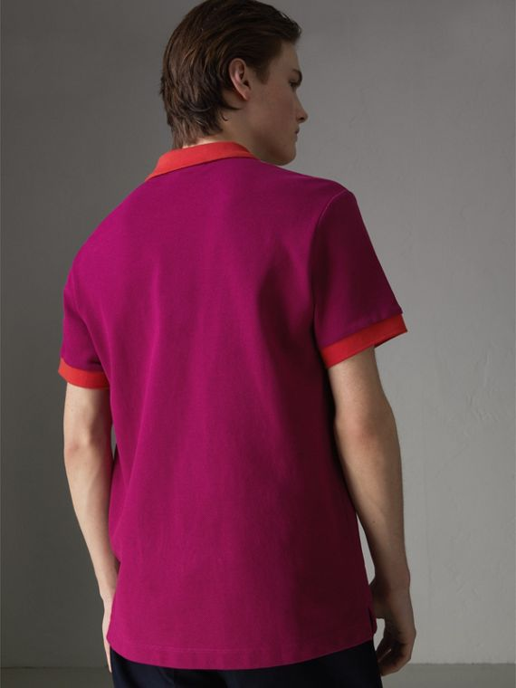 Contrast Collar Cotton Polo Shirt in Plum Pink - Men | Burberry Hong Kong - cell image 2
