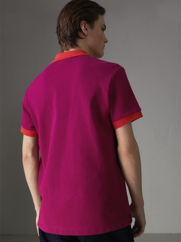 Contrast Collar Cotton Polo Shirt in Plum Pink - Men | Burberry Canada - cell image 2