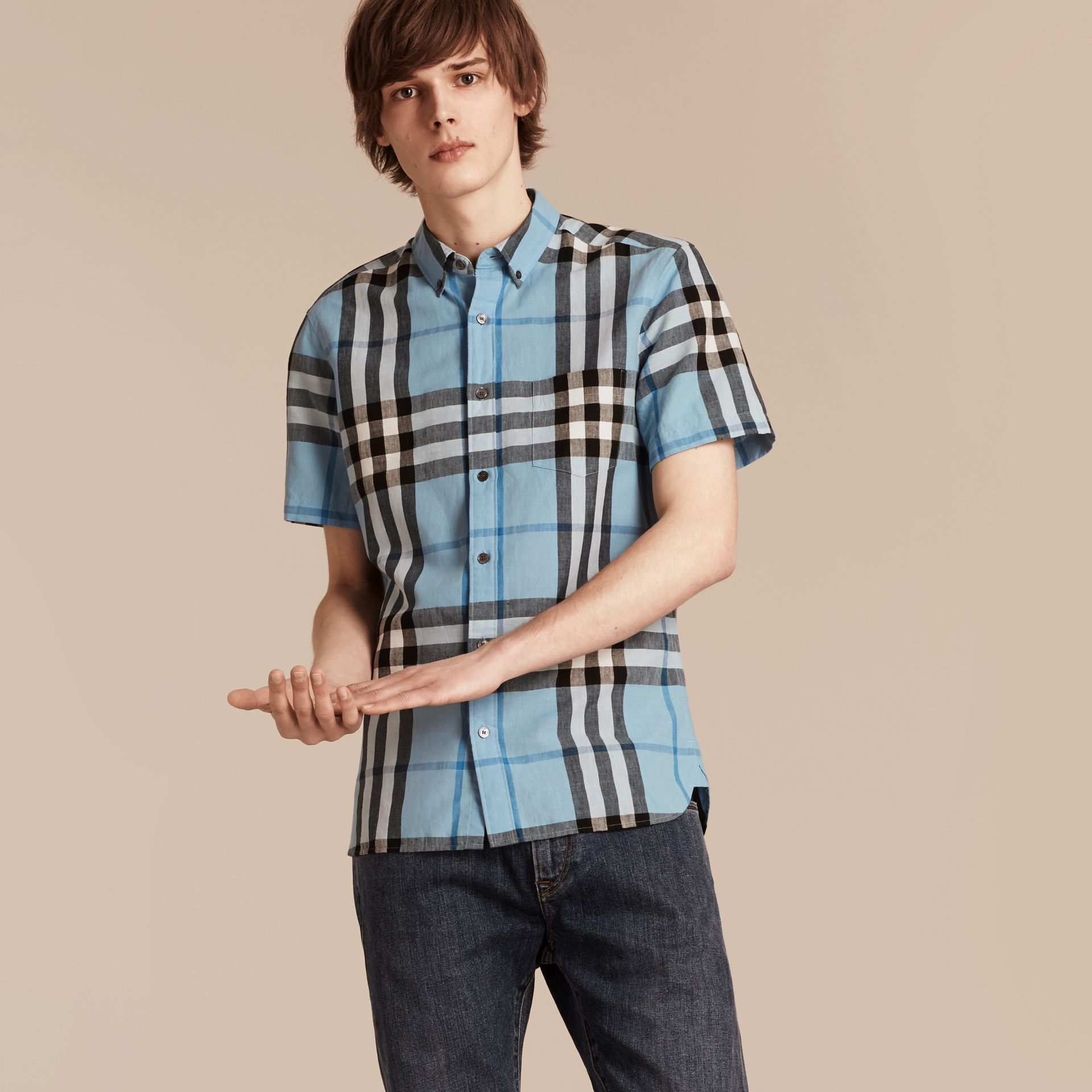 Short-sleeved Check Linen Cotton Shirt in Pale Blue - gallery image 1