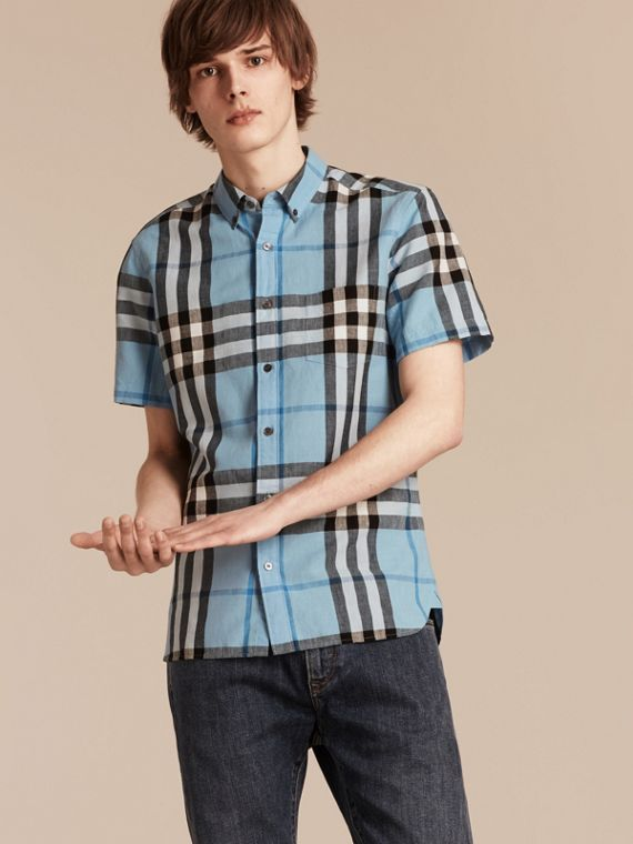 Short-sleeved Check Linen Cotton Shirt Pale Blue