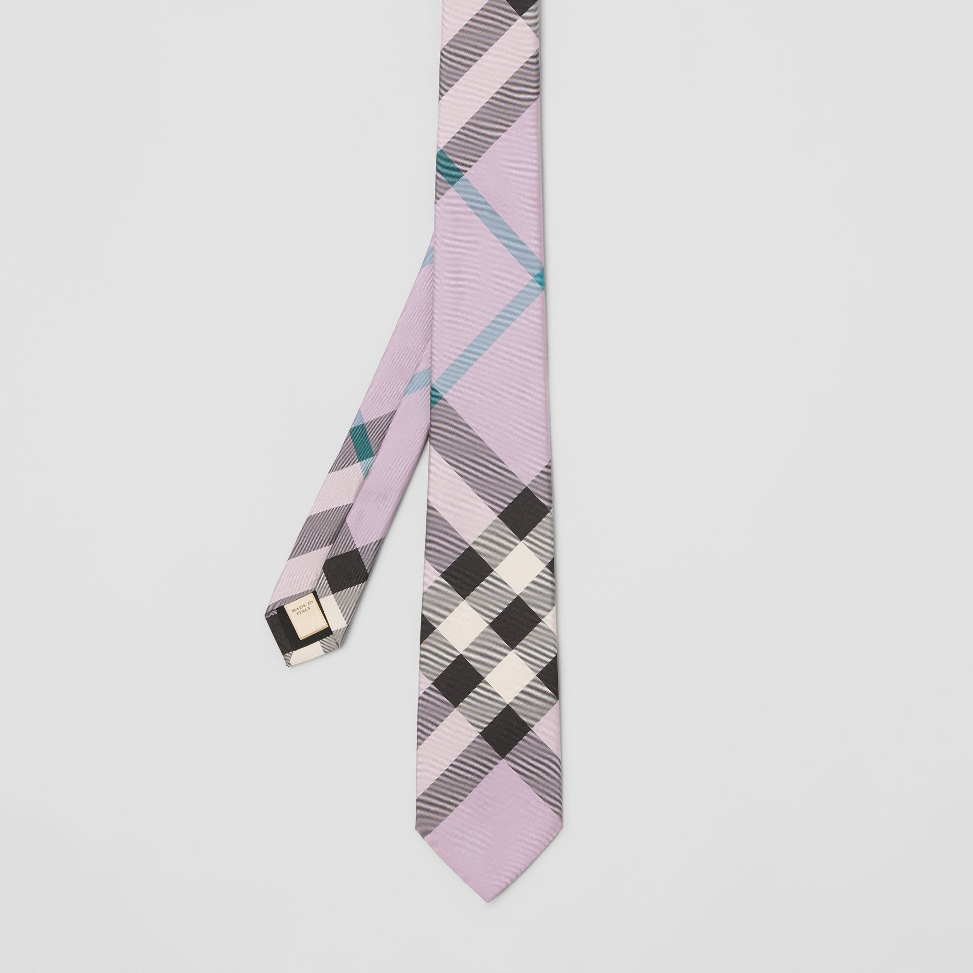 Modern Cut Check Silk Tie in Lilac - Men | Burberry Australia - gallery image 3