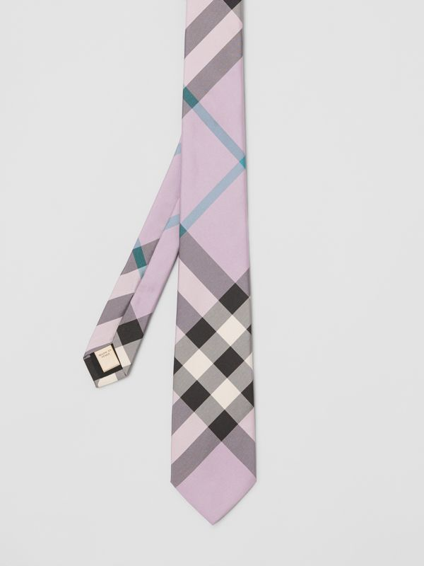 Modern Cut Check Silk Tie in Lilac - Men | Burberry Australia - cell image 3