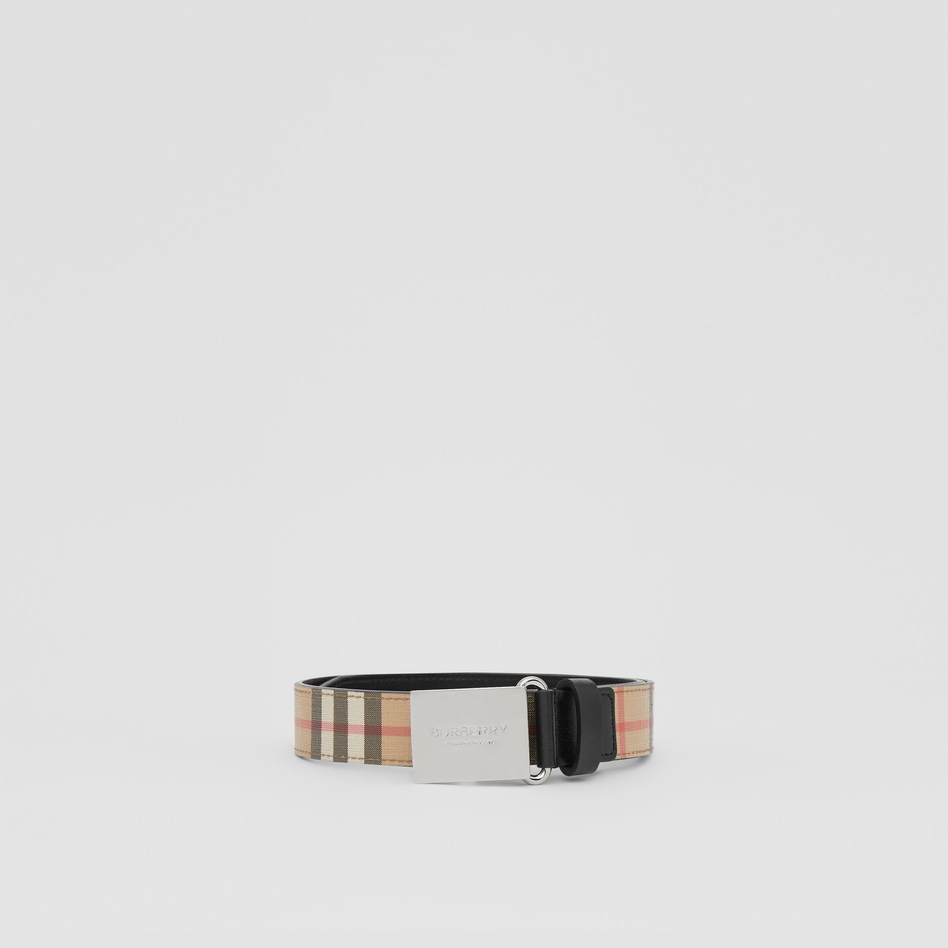 Plaque Buckle Vintage Check E-canvas Belt in Archive Beige - Children | Burberry Australia - gallery image 2