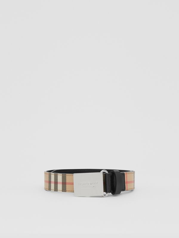 Plaque Buckle Vintage Check E-canvas Belt in Archive Beige - Children | Burberry Australia - cell image 2