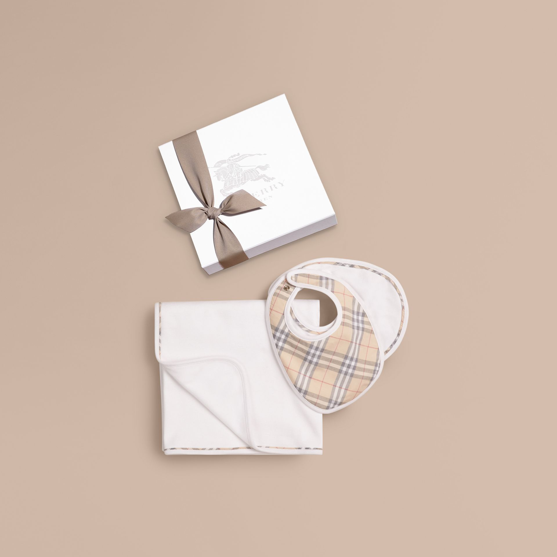 Cotton Three-piece Baby Gift Set in White | Burberry - gallery image 1