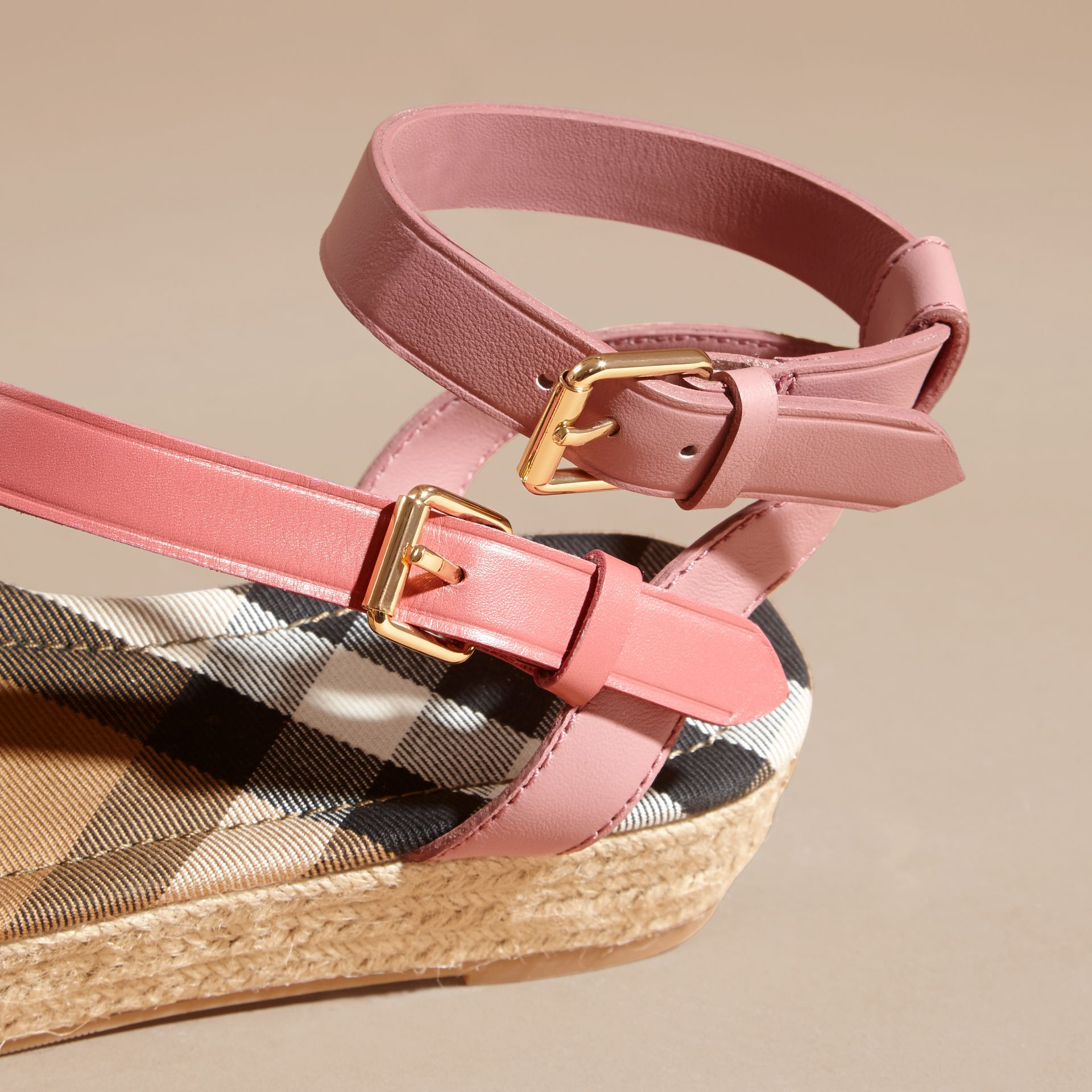 Two-tone Leather Espadrille Sandals in Dusty Pink - Women | Burberry Australia - gallery image 2