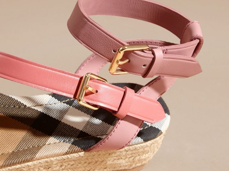 Two-tone Leather Espadrille Sandals in Dusty Pink - Women | Burberry Australia - cell image 1