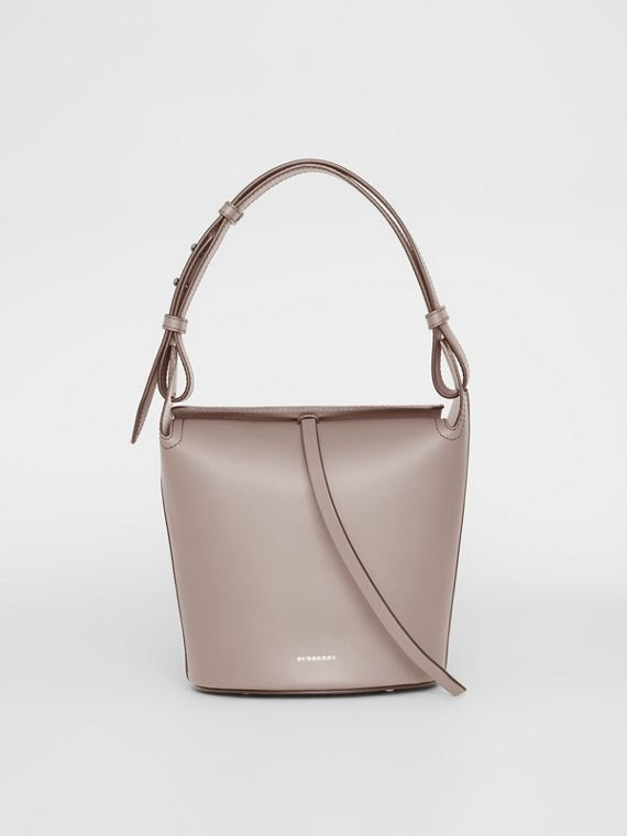 The Small Leather Bucket Bag in Taupe Brown