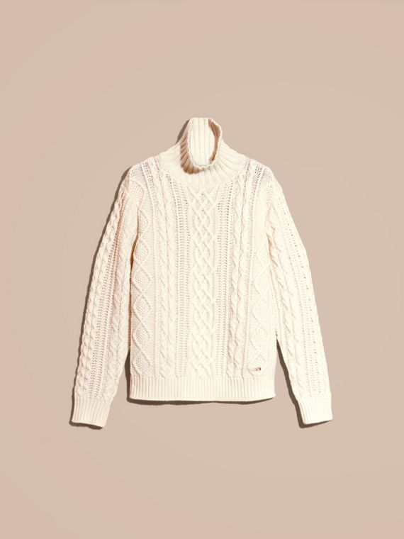 Natural white Funnel Neck Cashmere Cable Knit Sweater - cell image 3