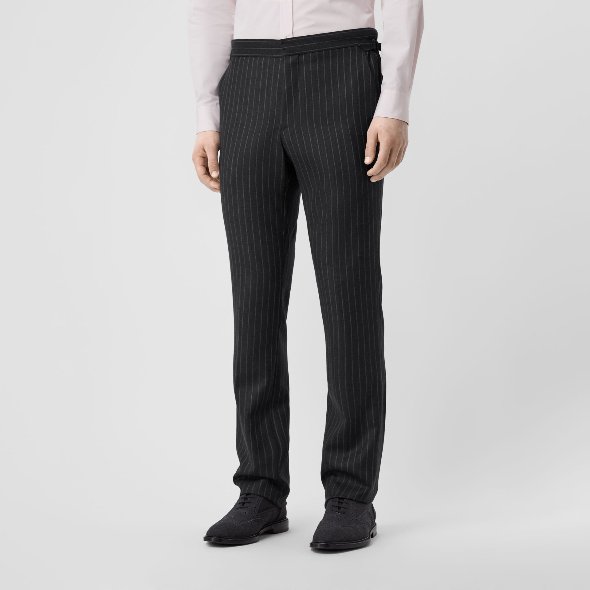 English Fit Pinstriped Wool Suit in Mid Grey Melange - Men | Burberry United Kingdom - gallery image 5