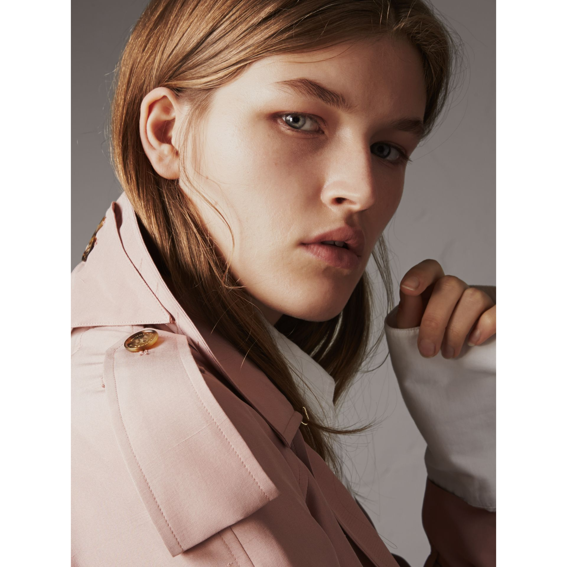 Silk Wrap Trench Jacket in Ash Rose - Women | Burberry - gallery image 2
