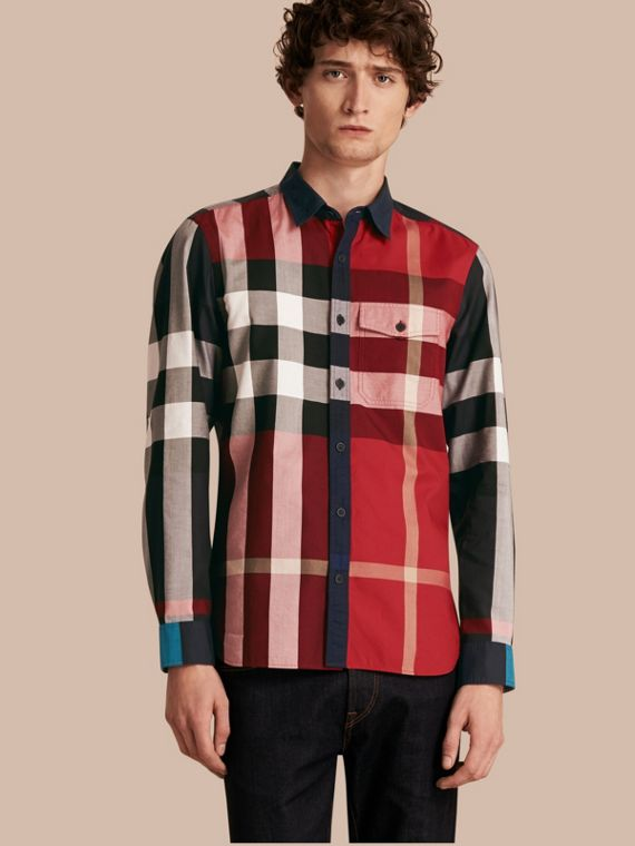 Check Cotton Poplin Shirt Parade Red