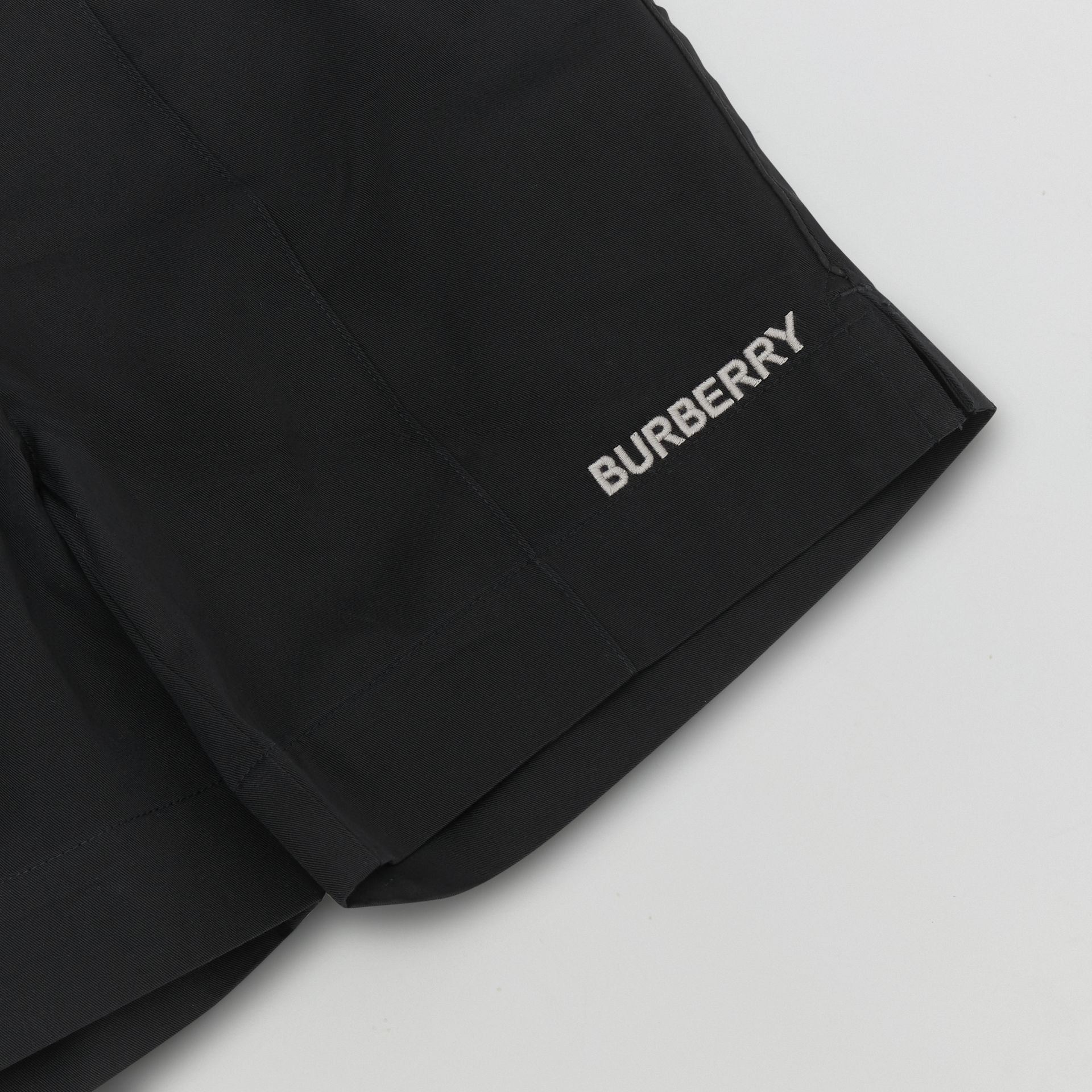 Embroidered Logo Cotton Drawcord Shorts in Black | Burberry - gallery image 1